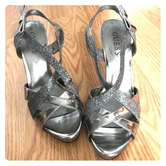 Guess Shoes - Guess silver glittery heel NWOT